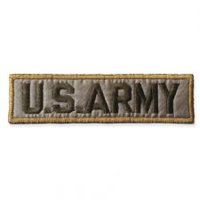 US ARMY TEXT BADGE MOTIF IRON ON EMBROIDERED PATCH APPLIQUE